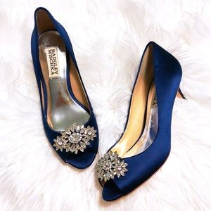 Badgley Mischka Blue Satin Embellished Heels 💎